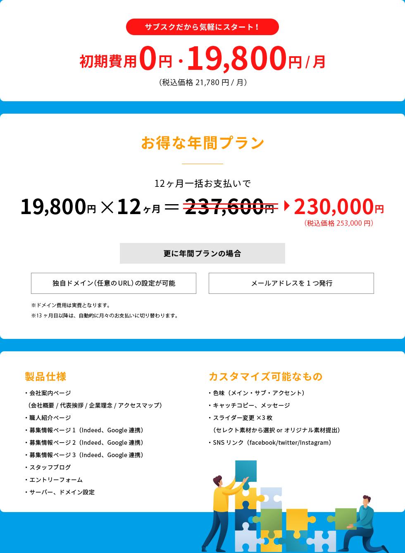 初期費用 0円・ 19,800円/月