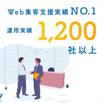 Web集客支援実績NO.1 運用実績 1,200社以上
